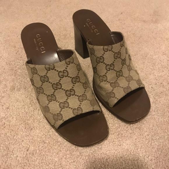 55d0e26b83f Gucci Shoes - Vintage Gucci logo block heel sandal